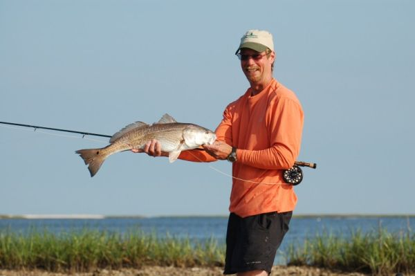 Redfish caught on a fly while kayak fishing
