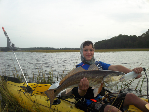 Ryley and his first redfish at the ChuckTown Boondoggle