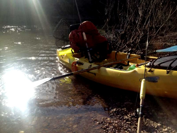 kayak pulled off the creek