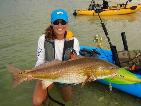 holly jones kayak fishing for huge redfish live target lures