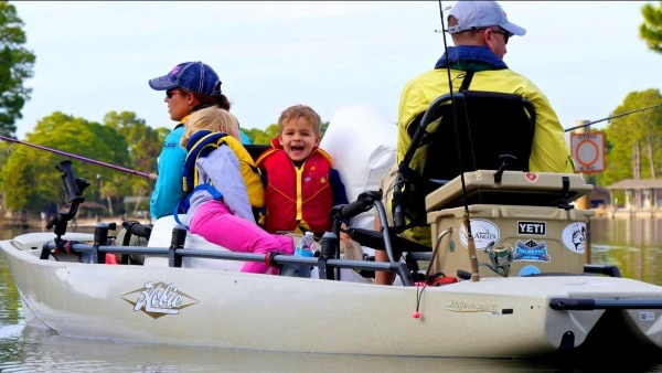 taking kids kayak fishing in a hobie pro angler 17t