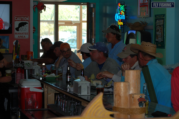 kayak anglers at the bar fly