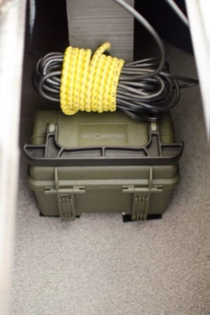 Lowrance battery box in hull jackson cuda wires tied