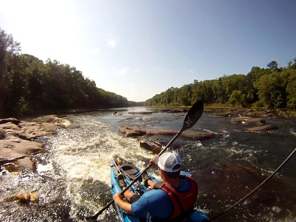 Running a set of rapids on the upper Flint River GA Malibu Stealth 12