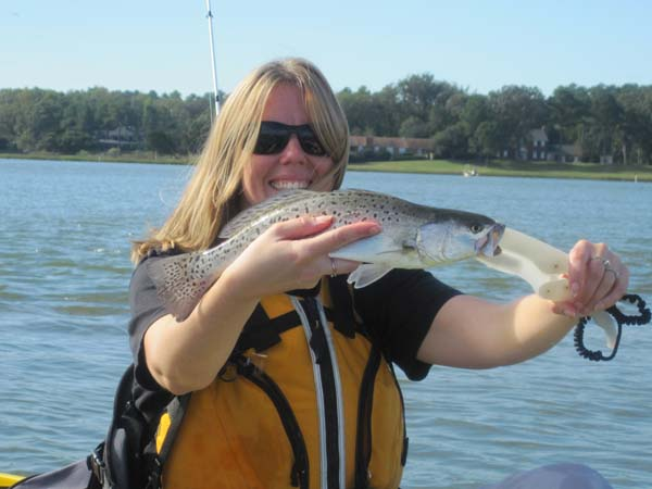 Kayak fishing Lynnhaven bay Sams Trout