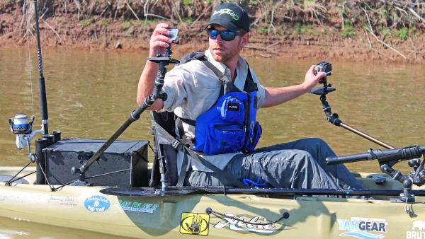 Setting up cameras for shooting video on a kayak