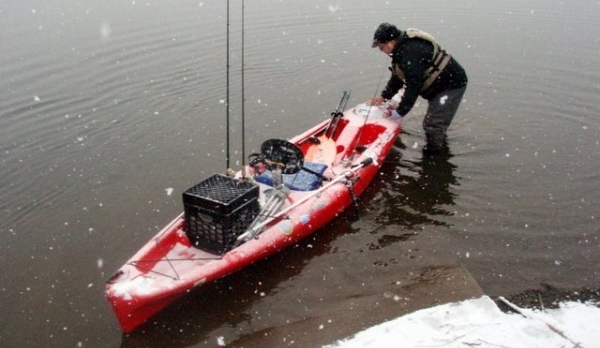 Ice, Snow, Kayaks, and Smallmouth Bass