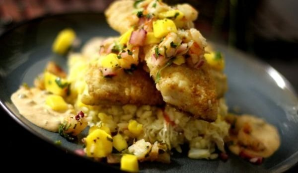 Pan Seared RedFish over Grilled Corn and Crab Risotto