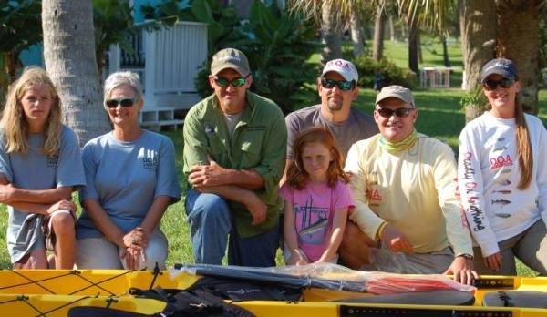 Left to Right Derrick / Sharon / Chuck / Kaci / Shawn / Ken (won a kayak in the raffle) and Jean
