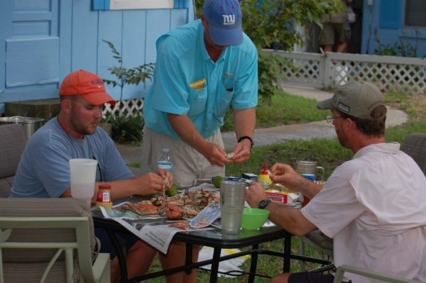 End of trip feast – L to R, Dustin, Dave, and Tommy