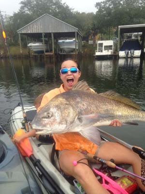 kayak fishing bull red