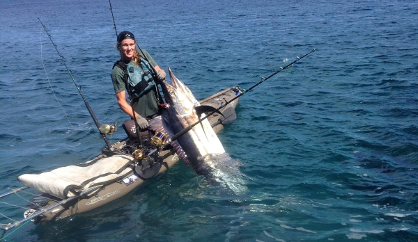 212 lb black marlin was caught and weighed in by the big fish guru and Hobie Fishing Team Member, Devin Hallingstad