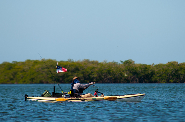 kayak casthing on the Tampa Bay flats